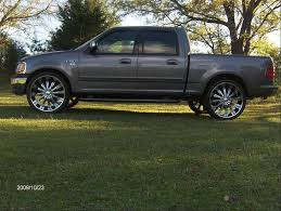 100 Rims For Ford Trucks F150 On 24 Inch 2002 D F150 SuperCrew Cab Blue Flame