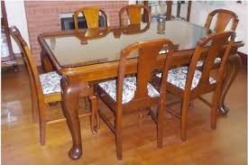 Antique Dining Table C1920 Queensland Maple With Six Chairs