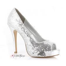 silver flamingo sequin peep toe pumps