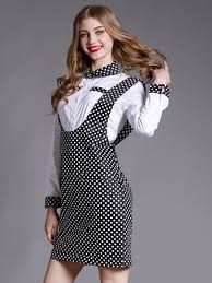 more than 70 off us white shirt with polka dot suspender dress