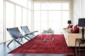 Red Rug Modern Living Room Contemporary Antique Persian