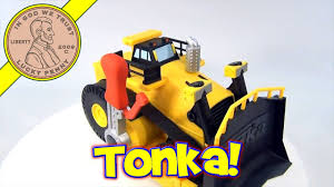 100 Tonka Strong Arm Garbage Truck Plastic Bulldozer Toy With Oversized Cranking