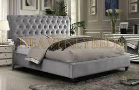 Scroll Studded Sleigh Bed Frame Crushed Velvet