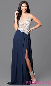 jeweled illusion bodice long navy prom dress promgirl
