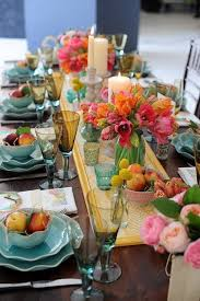 Pretty Spring Tablescape For Home Entertaining Aqua Coral And Yellow Table Setting Perfectly Sets The Tone