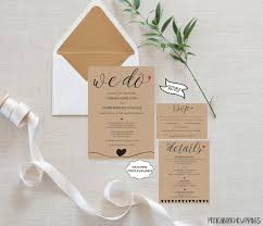 Wedding Invitation Template Set We Do RSVP Card Details Editable Printable DIY Rustic Bohemian Kraft Simple PCWDWS