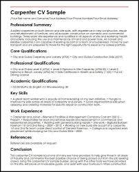 Carpenter CV Sample