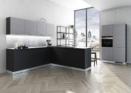bauformat küche l form grifflos schwarz mit push to open