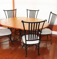 French Country Oak And Wrought Iron Dining Table With Five Half Moon ...