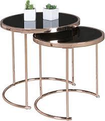 finebuy design couchtisch deco glas kupfer tisch 2er set