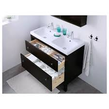 hemnes odensvik sink cabinet with 2 drawers black brown stain