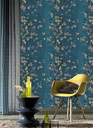 jz home 2618 vintage floral tapete blau gelb dicke strukturierte blumen wandtapete für zuhause schlafzimmer wohnzimmer hotels wanddekoration