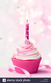 Pink birthday cupcake with a single candle