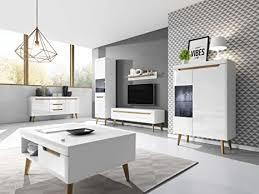 furniture24 wohnzimmer set nordi kommode vitrine couchtisch tv schrank hängeregal mit led beleuchtung skandinavische stil weiß weiß hochglanz