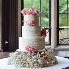 Three Tier Rustic Buttercream Wedding Cake With Pink Roses And Babys Breath The Base