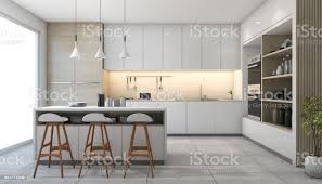 Modern White Kitchen Interior 3d Rendering Stockfoto Und 3d Rendering White Modern Design Kitchen With L Stock Photo Image Now