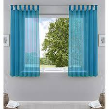 2er pack gardinen transparent vorhang set wohnzimmer voile schlaufenschal mit bleibandabschluß hxb 175x140 cm türkis 61000cn