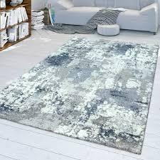 wohnzimmer teppich kurzflor mit modernem used look in grau