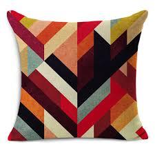 coussin de luxe pour canapé 1 pcs nordique vintage housse de coussin coloré plaid géométrique