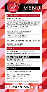 Our Aioli Burger Foodtruck Menu | Grab An Aioli Hamburger On The Go!