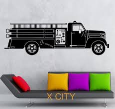 Fire Truck Rescuers Transport Children Bedroom Wall Art Decal ...