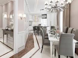 küche esszimmer in hellen farben mit grauen möbeln und