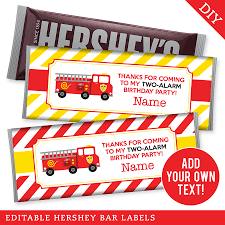 100 Fire Truck Birthday Party Editable Hershey Bar Labels INSTANT DOWNLOAD