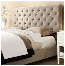 Modern Diamond Button Tufted Taupe Upholstered Padded Square Queen