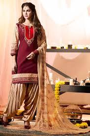 maroon cream simple casual wear panjabi style patiyala suits with
