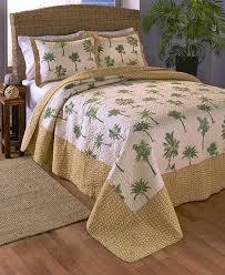 3 Pc Coastal Seashell Palm Tree Theme Quilt Set Full Queen King Size