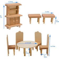puppenhaus möbel set esszimmer puppenmöbel holz puppen stube zubehör braun