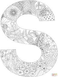 Fancy Letter S Coloring Pages With Plants Page Free Printable