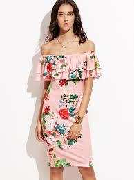 pink floral print off the shoulder ruffle dress shein sheinside