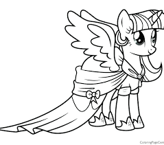Twilight Sparkle Coloring Pages Little Pony Girls Mlp