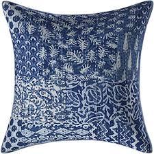 stylo culture ethnisch baumwolle dekorativ kissenhüllen 45 x 45 cm wohnzimmer kissen indigo blau white kantha patchwork 18 x 18 inch patchwork