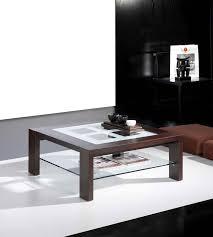 table basse carrée contemporaine dounia 2 plateaux en verre