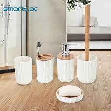 smartloc kunststoff bambus badezimmer zubehör set bad zahnbürste halter wc pinsel seife dispenser dish make up organizer spiegel
