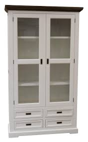 White Modern Wooden Display Cabinet Come With Clear Glass Door And Also 4 Storage