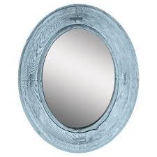 Oval Rustic Wood Villa Decorative Wall Mirror Blue