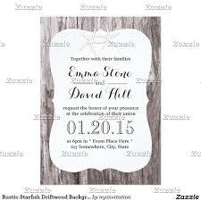 Rustic Beach Wedding Starfish Driftwood Card