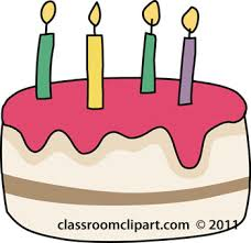 Birthday cake 4 candles clipart