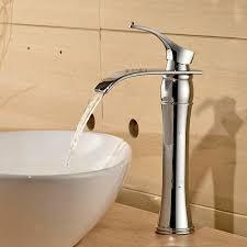 auralum wasserhahn bad waschtischarmaturen mit hoher wasserfall auslauf für badezimmer waschbecken chrom