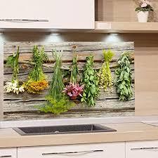 grazdesign spritzschutz glas für küche herd bild motiv küchenkräuter küchenrückwand küchenspiegel glasrückwand 80x50cm