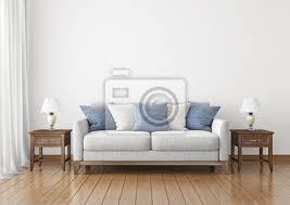 fototapete wohnzimmer mit stoff sofa kissen und len auf leere wand hintergrund