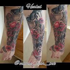 Half Sleeve Flower Tattoo By Mama Bear Ink