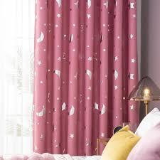 fenstervorhang gedruckt moon solid vorhang vorhänge wohnzimmer schlafzimmer vorhang ösen kinderzimmer 100x250cm rosa