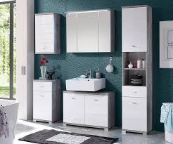 delife badezimmer set petre weiss grau 38 cm mit 2 türen 2 fächer beton optik badschrank kaufen otto