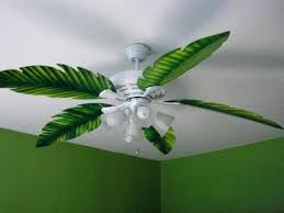 Hunter Palm Leaf Ceiling Fan Blades by Palm Frond Ceiling Fan Tropical Living Room With Outdoor Palm Leaf