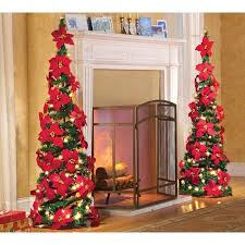 Lighted Holiday Poinsettia Pull Up Artificial Christmas Tree Red