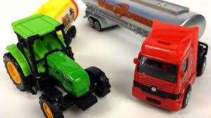 100 Toy Farm Trucks And Trailers UNBOXING SPEED TRACK TRACTOR WITH TRAILER HOT SUPER TOP TANKER TRUCK FUN AT FARM JOHN DEERE